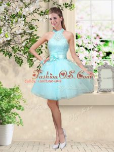 Edgy Aqua Blue Lace Up Halter Top Lace and Belt Quinceanera Court Dresses Tulle Sleeveless