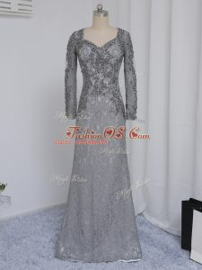 Grey Column/Sheath Lace Sweetheart Long Sleeves Beading and Lace Floor Length Zipper Mother Of The Bride Dress