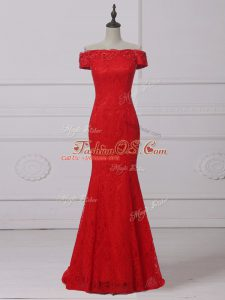 Red Scoop Neckline Lace and Appliques Homecoming Dress Sleeveless Lace Up