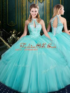 Modern Aqua Blue Sleeveless Beading and Pick Ups Floor Length Quinceanera Dresses