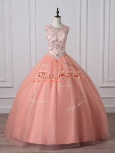 Peach Zipper Vestidos de Quinceanera Beading Sleeveless Floor Length
