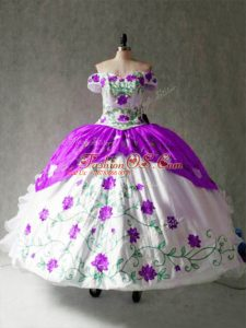 Floor Length White And Purple 15 Quinceanera Dress Organza and Taffeta Cap Sleeves Embroidery and Ruffles