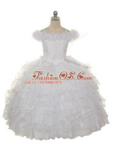 White Organza Lace Up Pageant Gowns For Girls Sleeveless Floor Length Ruffles and Ruffled Layers
