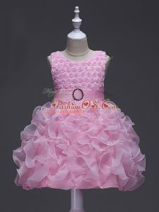 Knee Length Rose Pink Little Girl Pageant Dress Organza Sleeveless Ruffles and Belt