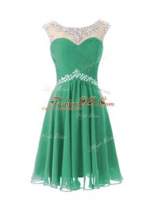 Turquoise Chiffon Zipper Cocktail Dresses Cap Sleeves Knee Length Beading