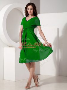 Sumptuous V-neck Short Sleeves Chiffon Mother Of The Bride Dress Ruching Zipper