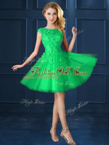 Delicate Knee Length A-line Cap Sleeves Green Bridesmaids Dress Lace Up