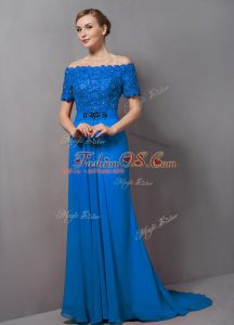 Off The Shoulder Short Sleeves Sweep Train Zipper Mother Of The Bride Dress Blue Chiffon