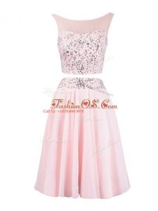 Fashionable Baby Pink Scoop Zipper Beading Prom Party Dress Sleeveless