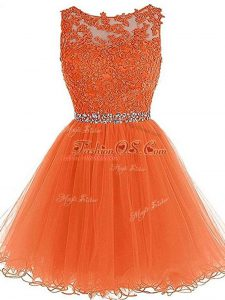 Cheap Orange A-line Tulle Scoop Sleeveless Beading and Ruffles Mini Length Zipper Prom Gown
