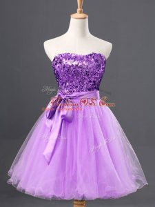 Lavender Sleeveless Mini Length Sashes ribbons and Sequins Zipper Club Wear
