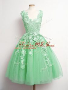 Green Sleeveless Knee Length Appliques Lace Up Wedding Guest Dresses