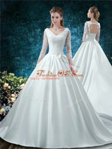 Shining White Ball Gowns Satin V-neck 3 4 Length Sleeve Lace and Belt Lace Up Wedding Dresses Chapel Train