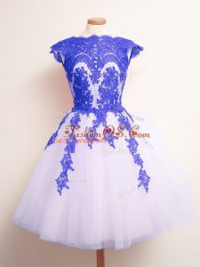 Mini Length A-line Sleeveless Blue And White Quinceanera Dama Dress Lace Up