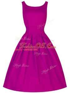 Cute Fuchsia Sleeveless Taffeta Lace Up Bridesmaids Dress for Prom and Party and Wedding Party