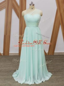 Vintage Apple Green Quinceanera Dama Dress One Shoulder Sleeveless Sweep Train Side Zipper