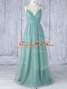 High End V-neck Sleeveless Criss Cross Bridesmaid Gown Green Tulle