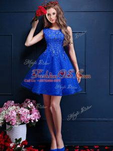 Romantic Bateau Sleeveless Wedding Party Dress Knee Length Beading and Lace Royal Blue Tulle