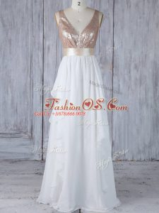 Sleeveless Chiffon Floor Length Backless Bridesmaid Dress in White with Ruffles and Sequins