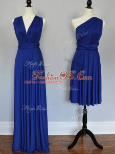 Pretty One Shoulder Sleeveless Quinceanera Court Dresses Floor Length Ruching Royal Blue Chiffon