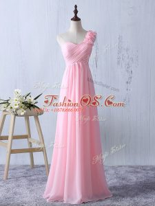 Baby Pink Chiffon Zipper Bridesmaid Dresses Sleeveless Floor Length Ruffles and Ruching
