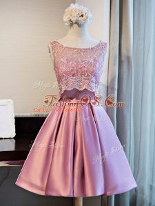 Lilac Satin Lace Up Prom Dresses Sleeveless Mini Length Lace and Appliques and Belt