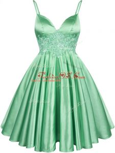 Captivating Elastic Woven Satin Spaghetti Straps Sleeveless Lace Up Lace Bridesmaids Dress in