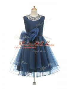 Latest Navy Blue Sleeveless Knee Length Beading and Bowknot Zipper Kids Pageant Dress