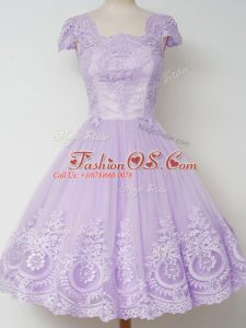 Amazing Lavender Tulle Zipper Bridesmaid Gown Cap Sleeves Knee Length Lace
