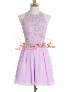 Exceptional Lavender Empire Halter Top Sleeveless Chiffon Knee Length Lace Up Appliques Bridesmaid Dresses