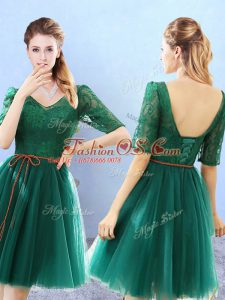 Top Selling Green Half Sleeves Tulle Backless Bridesmaid Dresses for Prom and Party