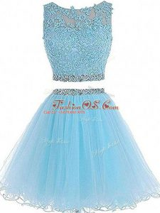 Sleeveless Zipper Mini Length Beading and Lace and Appliques Prom Evening Gown