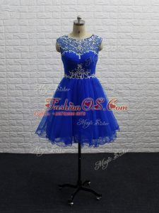 A-line Prom Evening Gown Royal Blue Scoop Tulle Sleeveless Mini Length Zipper