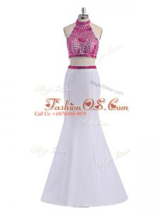 Custom Design White Prom Evening Gown Prom and Party and Military Ball with Beading Halter Top Sleeveless Criss Cross