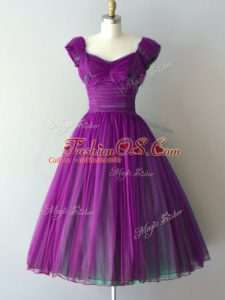 High End Cap Sleeves Knee Length Ruching Lace Up Wedding Party Dress with Purple