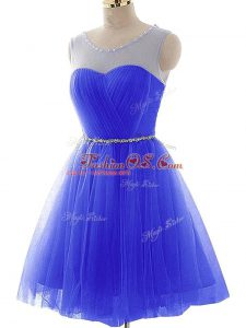 Top Selling Scoop Sleeveless Tulle Custom Made Beading and Ruching Lace Up