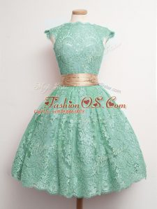 Comfortable Turquoise Square Lace Up Belt Quinceanera Court Dresses Cap Sleeves