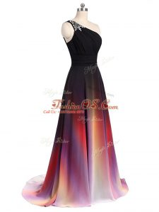 Superior Brush Train Empire Red Carpet Prom Dress Multi-color Chiffon Sleeveless Lace Up
