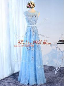 Super Baby Blue Zipper Party Dress for Toddlers Beading and Lace and Appliques and Belt Sleeveless Floor Length