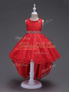 Sleeveless High Low Beading Lace Up Little Girls Pageant Gowns with Red