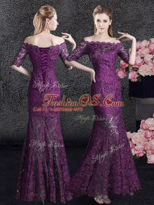 Pretty Mermaid Off the Shoulder Floor Length Lace Up Mother Of The Bride Dress Purple for Prom and Party with Lace