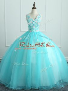Noble Aqua Blue Ball Gowns Appliques Sweet 16 Quinceanera Dress Lace Up Organza Sleeveless Floor Length