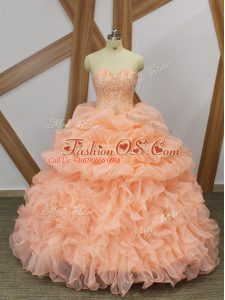 Organza Sleeveless Quinceanera Gowns Sweep Train and Beading and Ruffles and Pick Ups