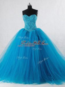 Wonderful Sleeveless Tulle Floor Length Lace Up Ball Gown Prom Dress in Baby Blue with Beading