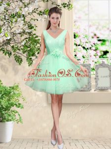 Suitable Apple Green Tulle Lace Up V-neck Sleeveless Knee Length Wedding Party Dress Lace and Belt