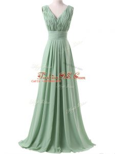 Elegant V-neck Sleeveless Lace Up Wedding Guest Dresses Apple Green Chiffon