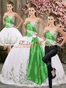 Sweetheart Sleeveless Quince Ball Gowns Floor Length Embroidery and Belt White Organza
