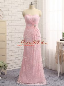 Excellent Baby Pink Zipper Mother Of The Bride Dress Beading and Lace and Appliques Sleeveless Floor Length