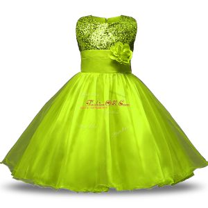 Chic Scoop Sleeveless Organza and Sequined Flower Girl Dress Bowknot and Belt and Hand Made Flower Zipper