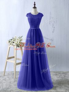 Tulle Scoop Short Sleeves Zipper Lace Prom Dress in Blue
